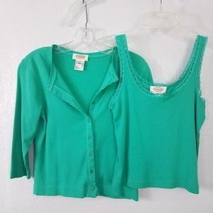 Talbots Tank Top and Cardigan Set